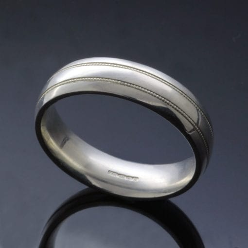 Custom made mens wedding bands lathyed detail