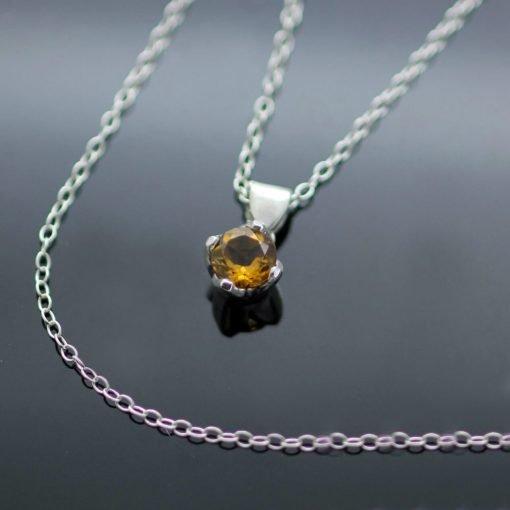Unique birthstone handcrafted Sterliing Silver Citrine gemstone necklace