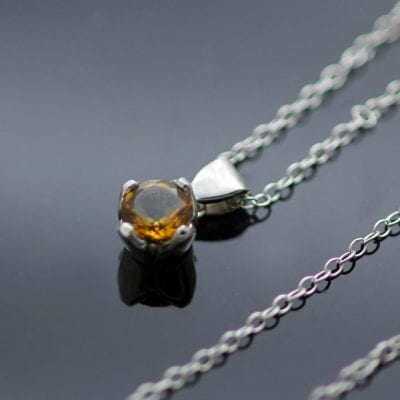 November Birthstone Citrine Sterling Silver handmade modern necklace