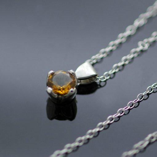 November Birthstone Citrine Sterling Silver handmade modern necklace