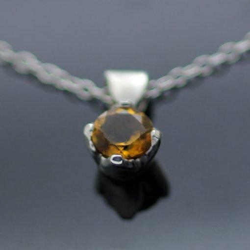 Round Brilliant Citrine gemstone pendant Sterling Silver handmade pendant
