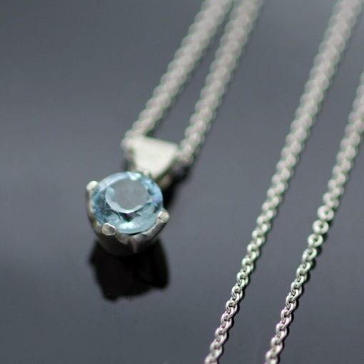 Modern birthstone necklace sterling silver blue topaz gemstone