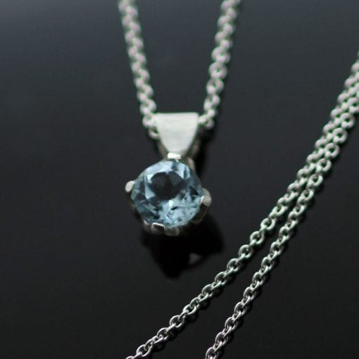 Handcrafted birthstone pendant Blue topaz gem set in sterling silver