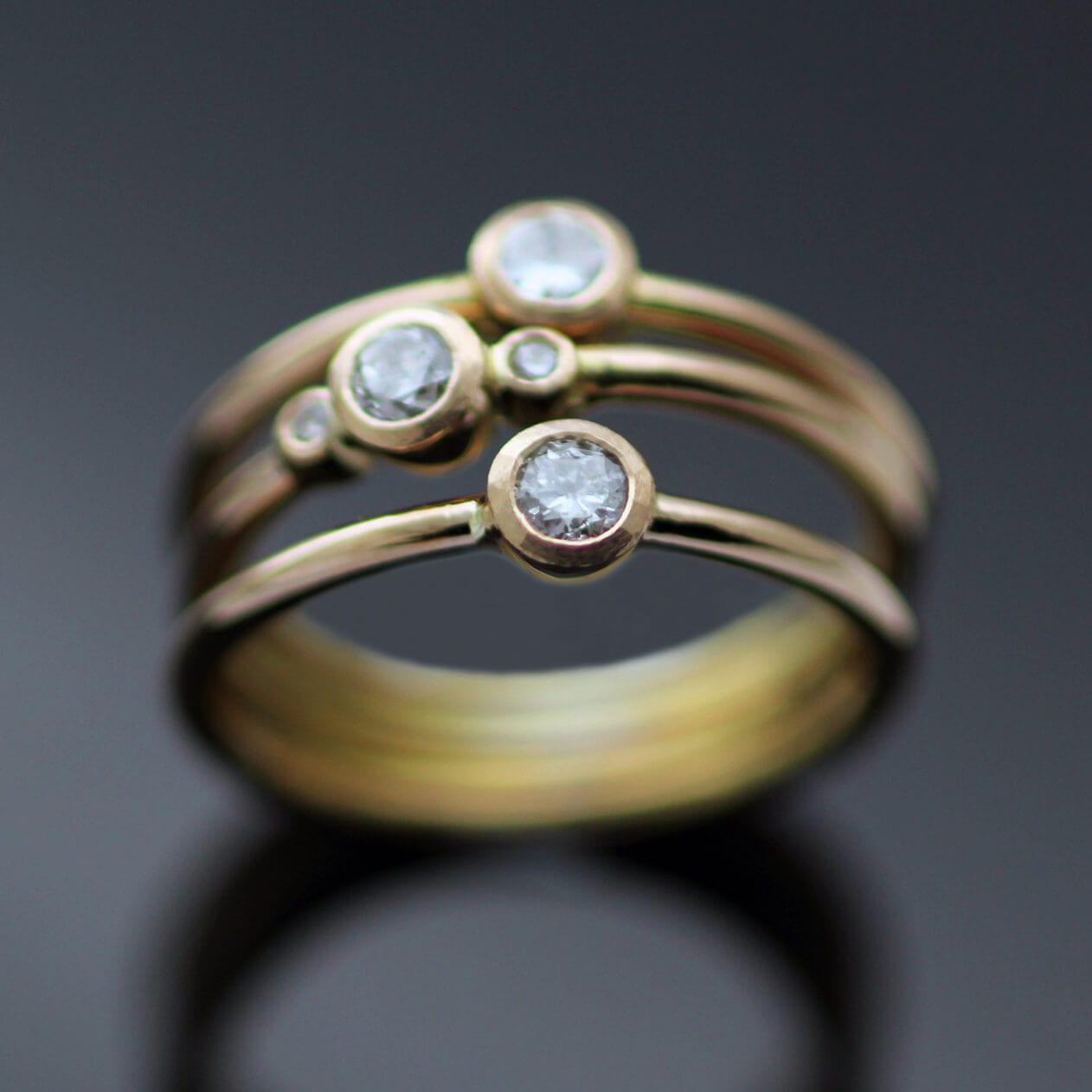 Handmade bespoke stacking engagement rings Rose Gold Diamonds
