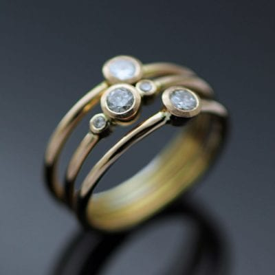 Diamond Rose Gold stacking rings modern engagement rings