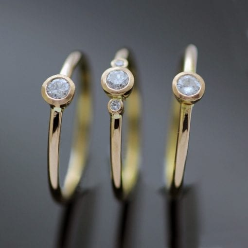 Rose Gold Diamond trio stacking engagement rings handmade