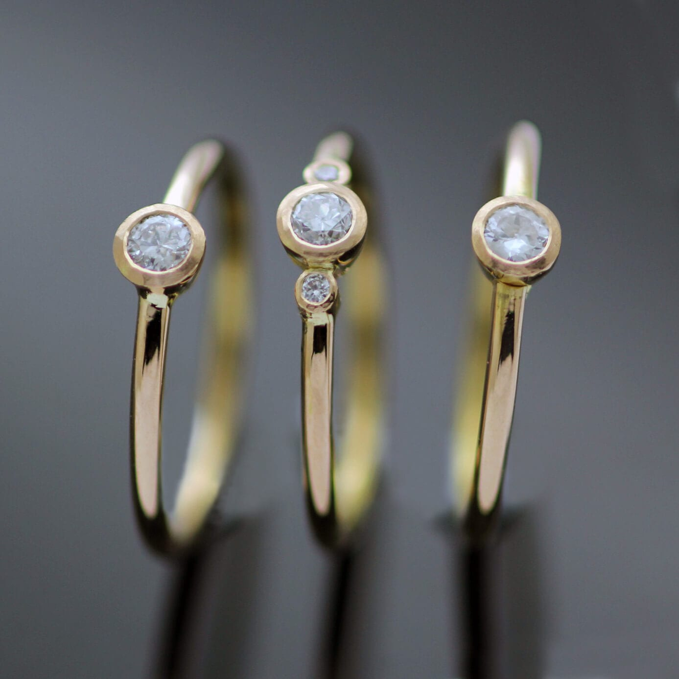 Rose Gold Diamond trio stacking engagement rings handmade