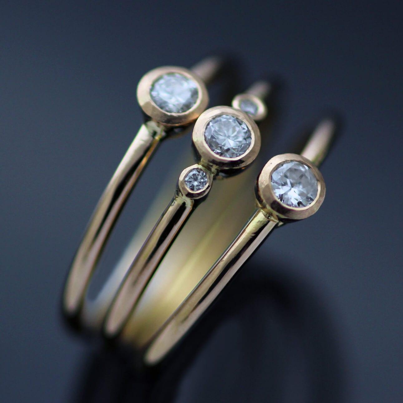 Bespoke modern Diamond Rose Gold stacking engagement rings