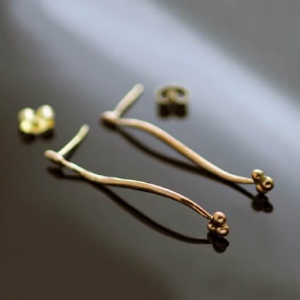 Minimal modern solid rose gold earrings handmade unique