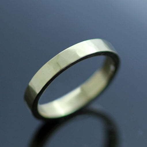 Handmade solid yellow gold flat band hammered polished