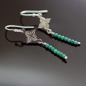 Sterling Silver turquoise beads boho earrings