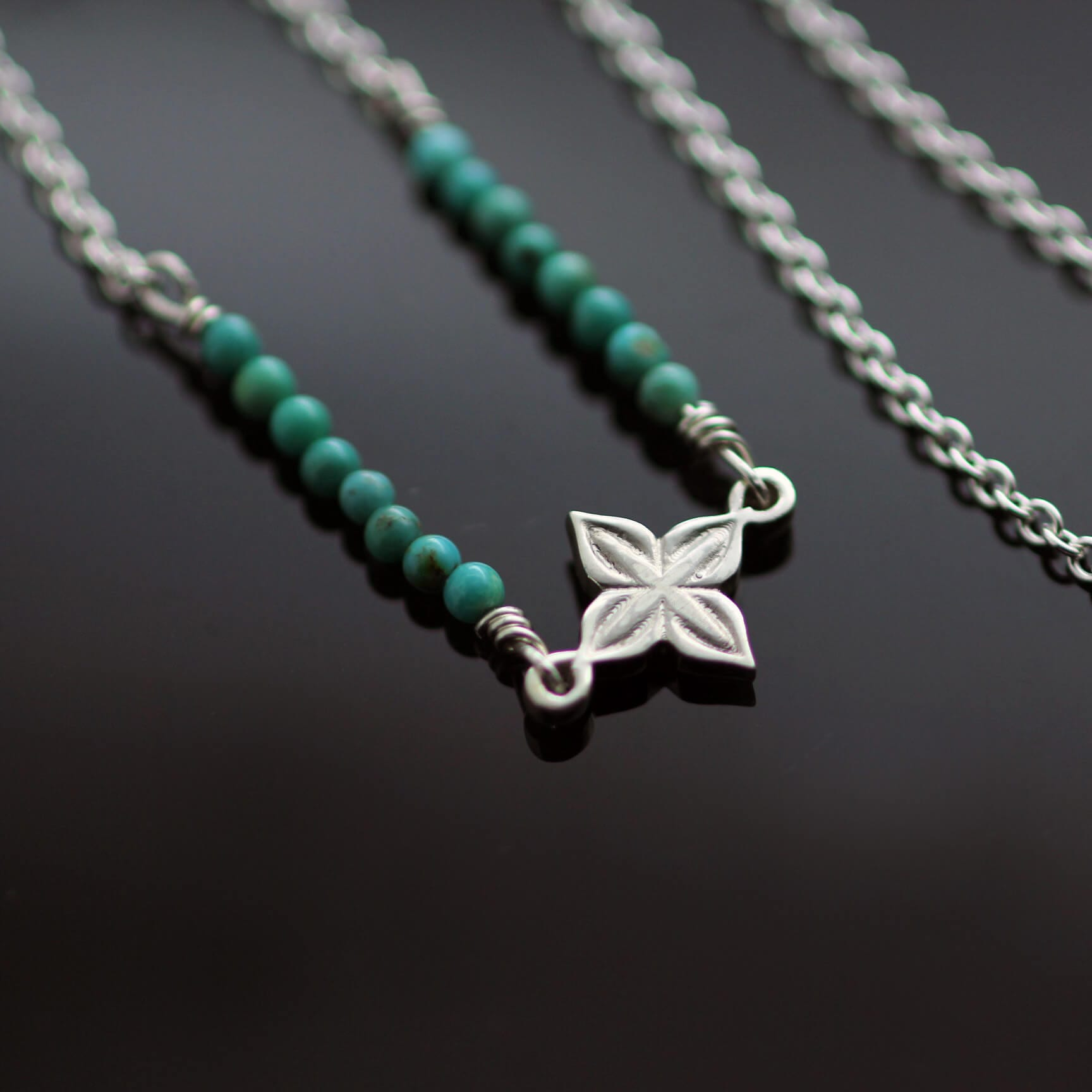 Handmade turquoise silver boho necklace