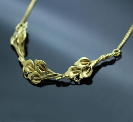Sterling Silver Yellow Gold handmade floral Calla Lilly unique necklace