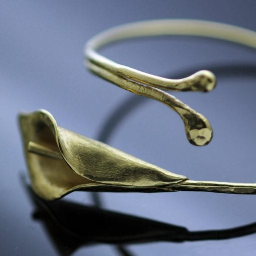 Yellow Gold plated Sterling Silver Calla Lilly bangle