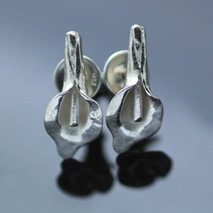 Sterling Silver Calla Lily stud earrings handmade
