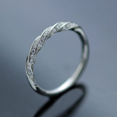Contemporary handmade Platinum Half Eternity band Diamonds