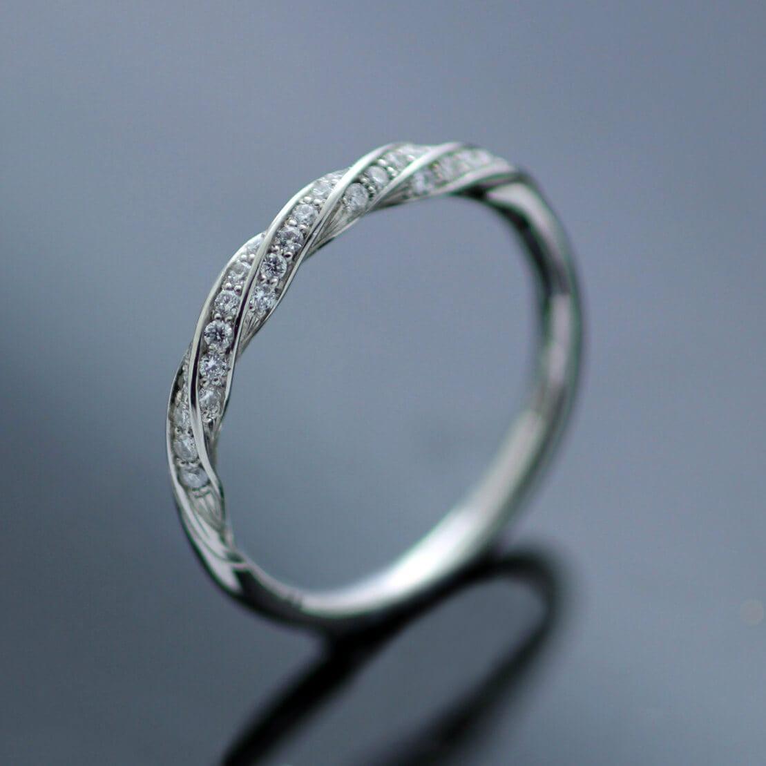Contemporary handmade Platinum Half Eternity band Diamonds