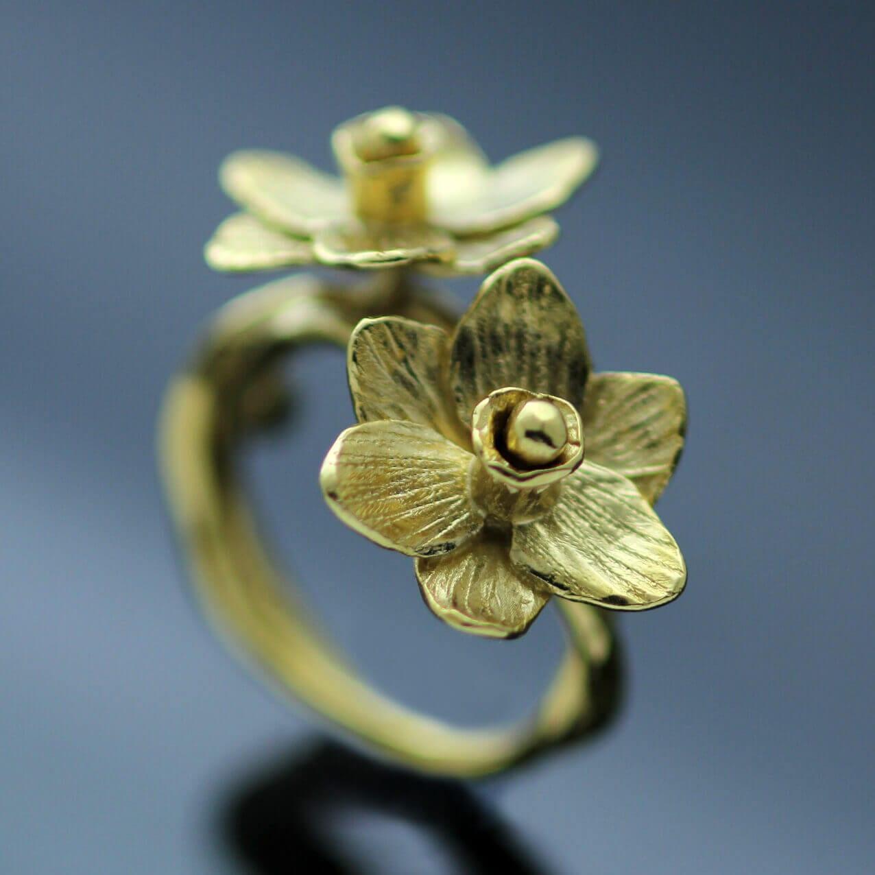 handmade gold plated daffodil flower ring handmade