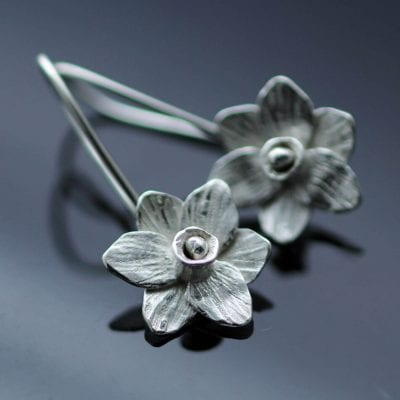 Floral Silver dangle droplet handmade earrings