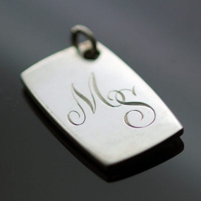Hand engraved personalised fob necklace modern style