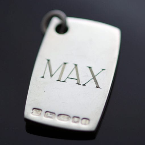 Sterling Silver personalised modern chunky fob dog tag