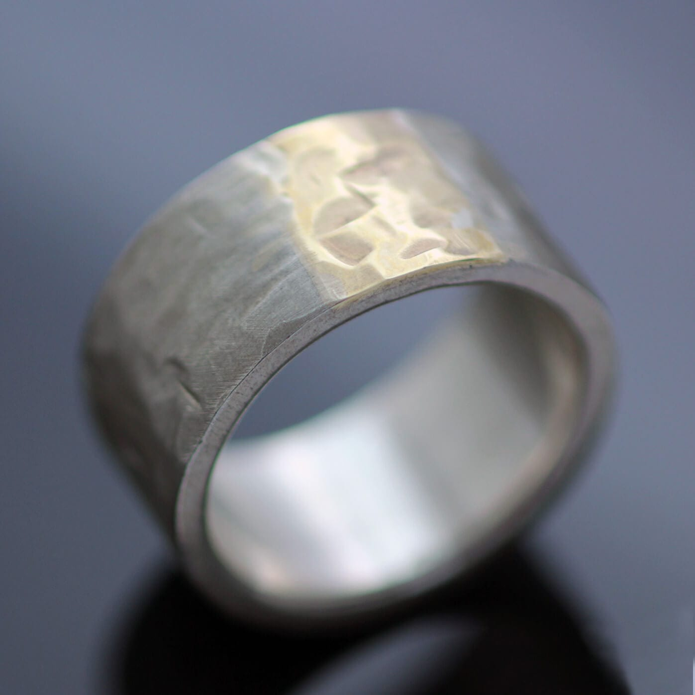 Chunky ring handmade sterling silver 9ct yellow gold modern style