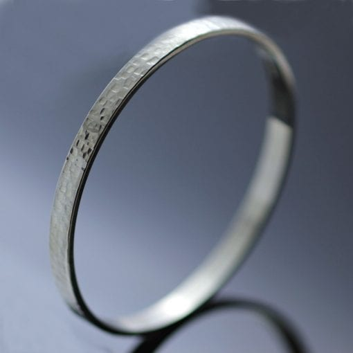 Sterling Silver handmade stacking bangle hand textured modern style