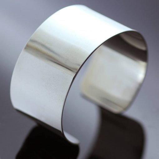 Modern chunky Silver statement cuff bracelet handmade