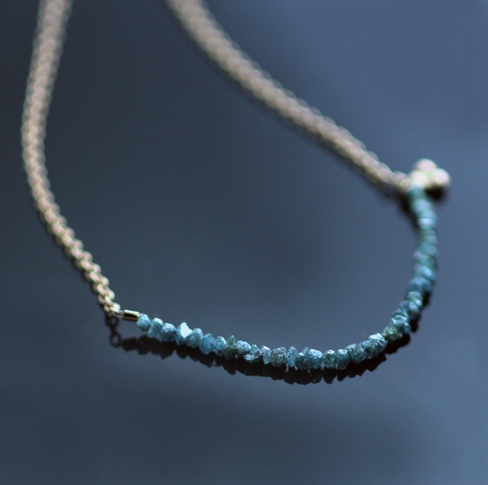 Diamond chip rose gold modern minimal necklace handmade