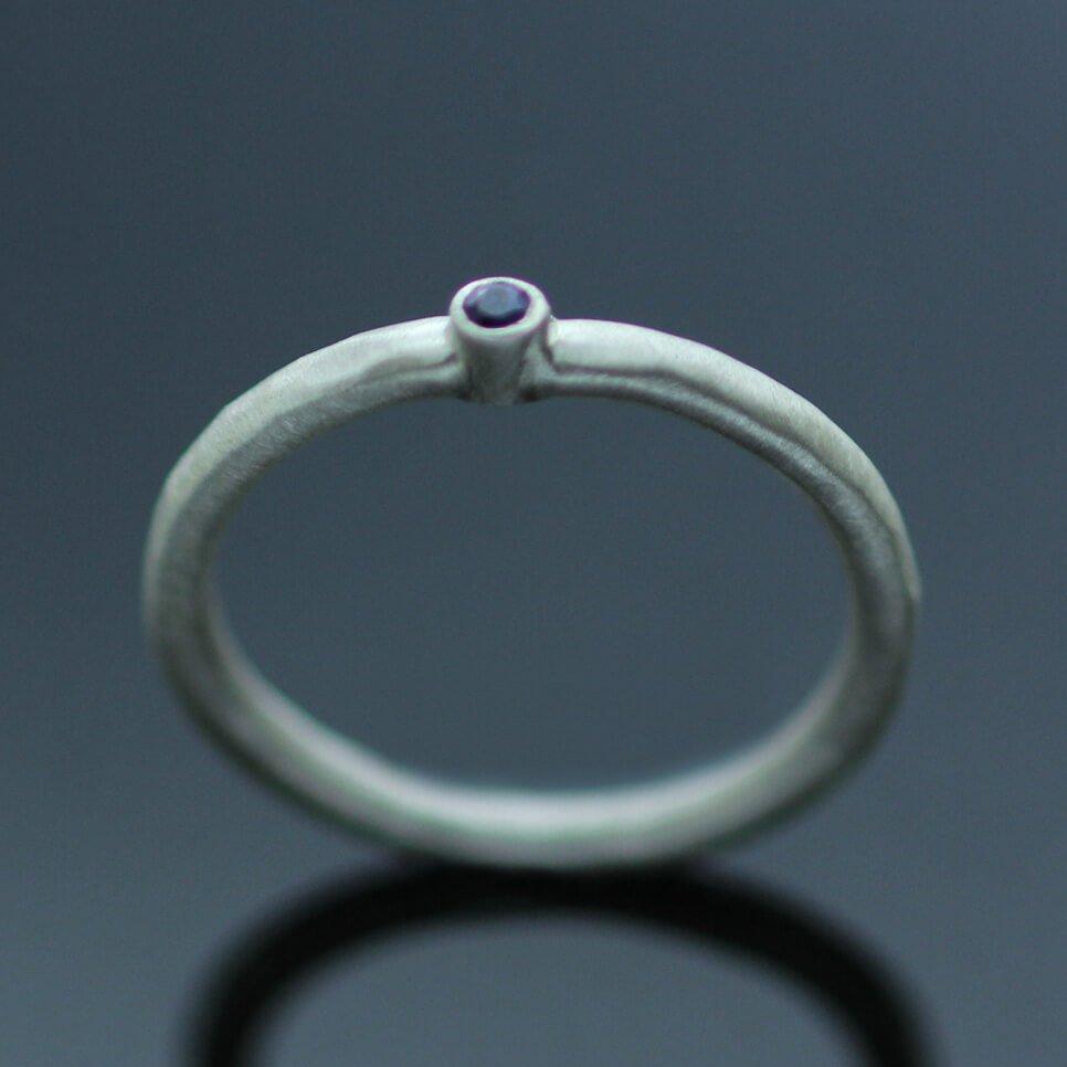 modern silver gemstone ring handmade satin finish