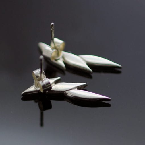 Modern handcrafted solid Silver earrings unique design