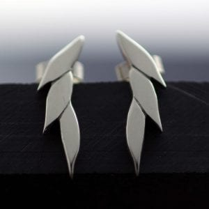 Contemporary silver handmade stud earrings