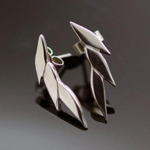 Modern Sterling Silver Swoosh stud earrings
