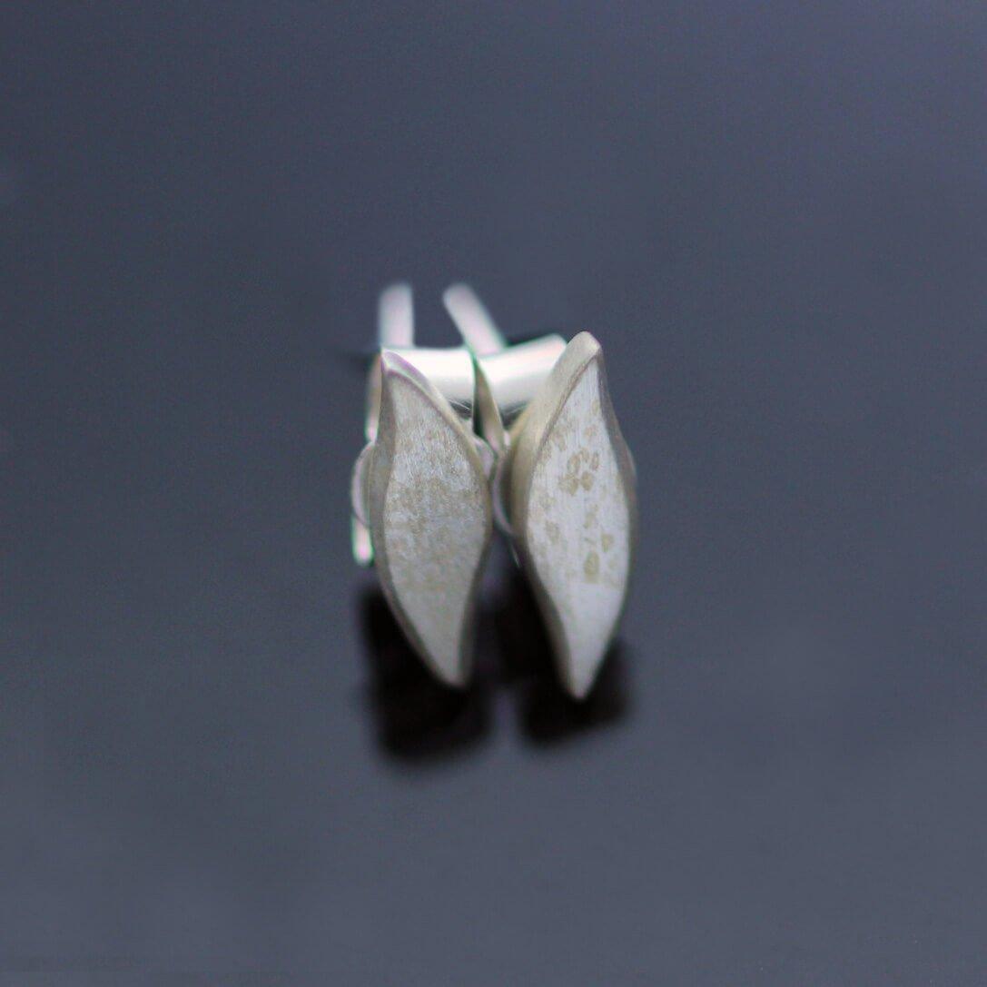 Modern minimal silver satin stud earrings