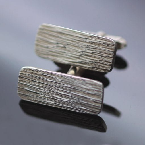 Modern mens hand textured Sterling Silver cufflinks