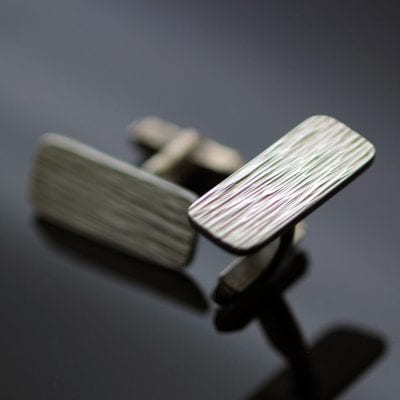 Textured contemporary silver cufflinks handmade