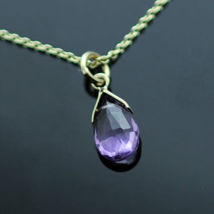 Handcrafted Yellow Gold Amethyst birthstone jewellery