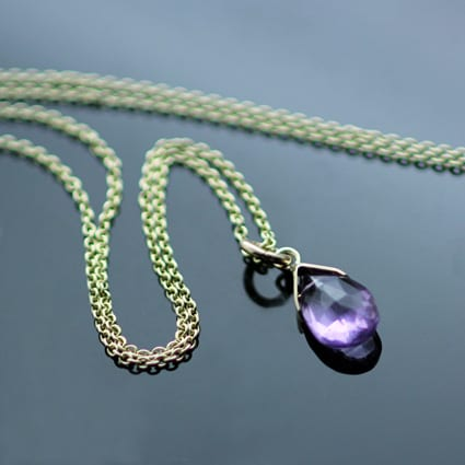 Amethyst Briolette 9ct Yellow Gold contemporary birthstone necklace