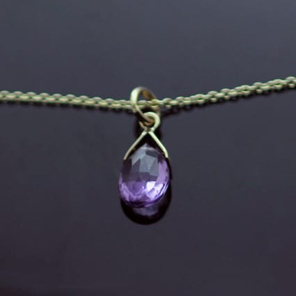 Birthstone jewellery Amethyst Yellow Gold modern pendant