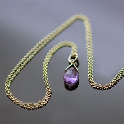 Yellow Gold Amethyst birthstone modern necklace