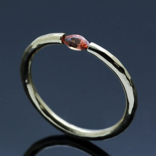 Garnet 18ct Yellow Gold handmade modern ring minimal style