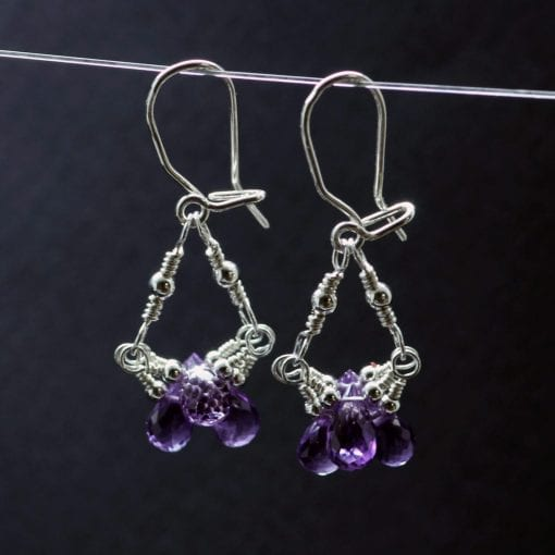 Amethyst briolette gemstone sterling silver handmade earrings