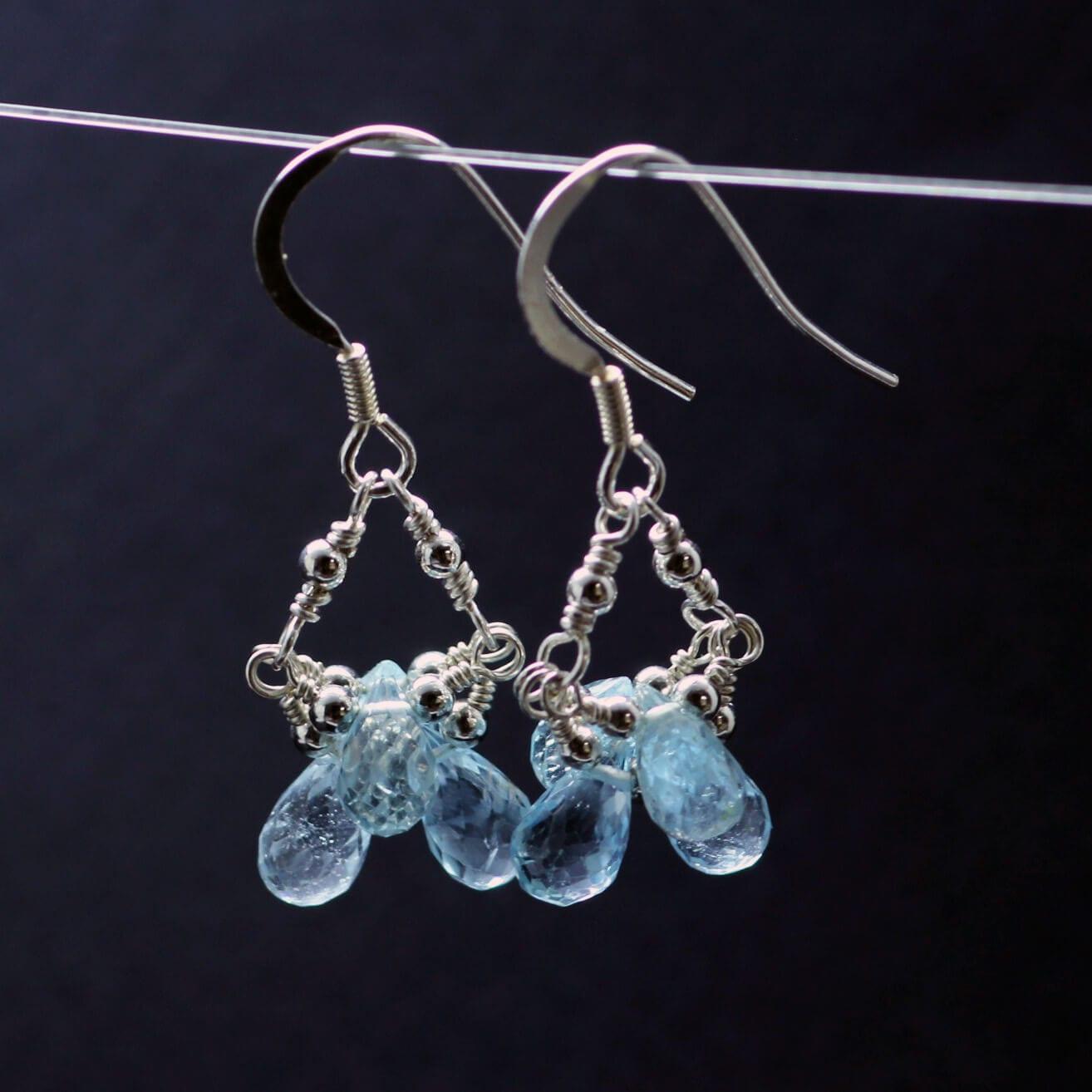 Sterling Silver sky blue Topaz briolette dangle earrings handmade