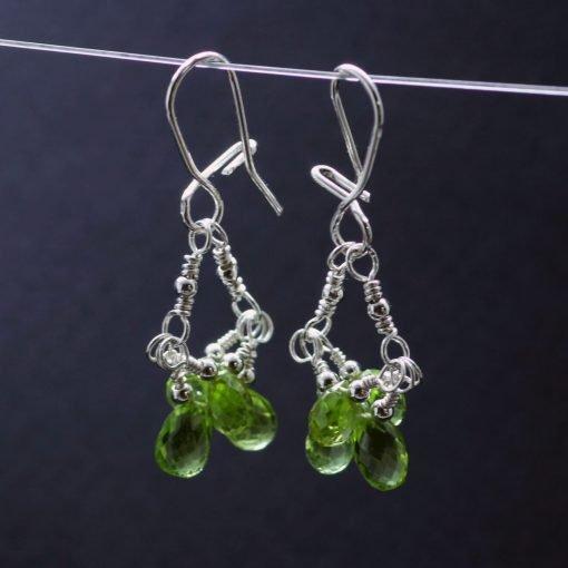 Peridot briolette gemstone silver dangle earrings handmade
