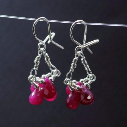 Ruby briolette Sterling Silver handmade droplet earrings