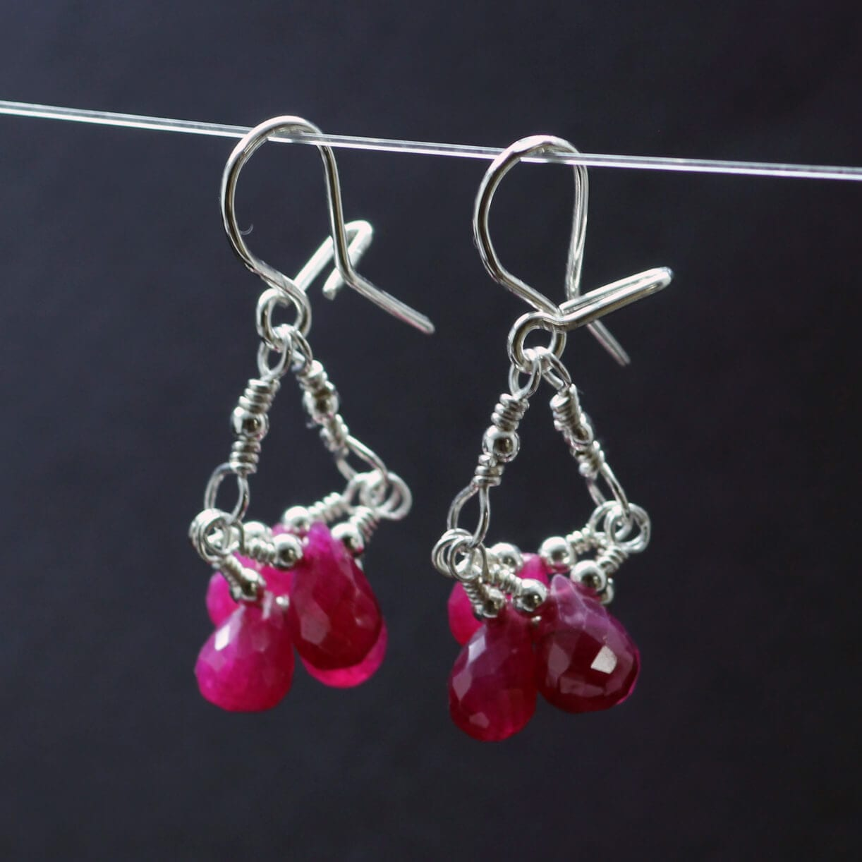 Ruby briolette Sterling Silver handmade droplet earrings