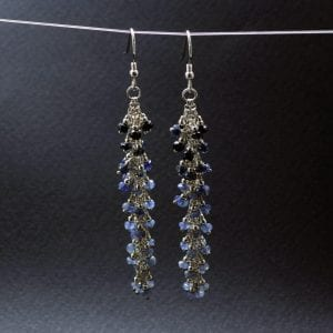 Blue Sapphire Sterling Silver gemstone earrings handmade