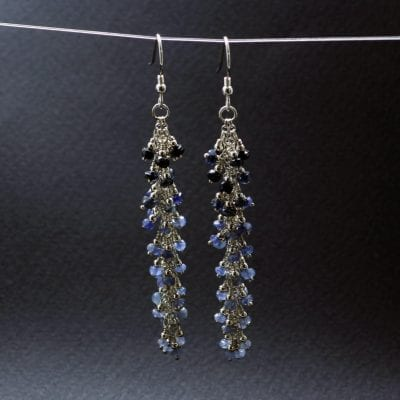 Blue Sapphire Sterling Silver gemstone earrings handmade