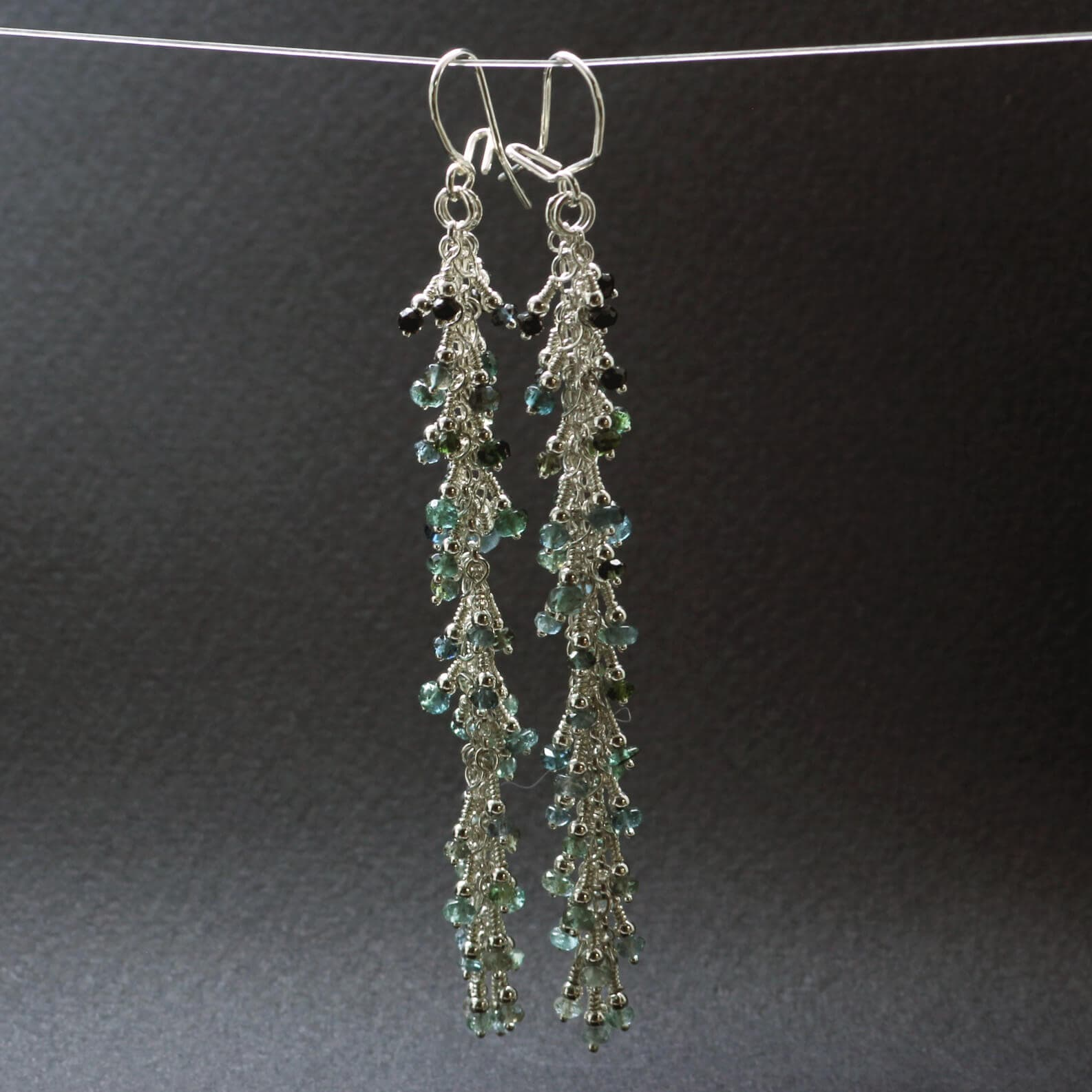 Blue Tourmaline gemstone Silver earrings, handcrafted by Sophie Saunders.