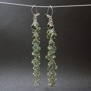 Green Tourmaline gemstone Silver earrings, handcrafted by Sophie Saunders.